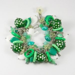 Green Fingers Green and White Nature Charm Bracelet