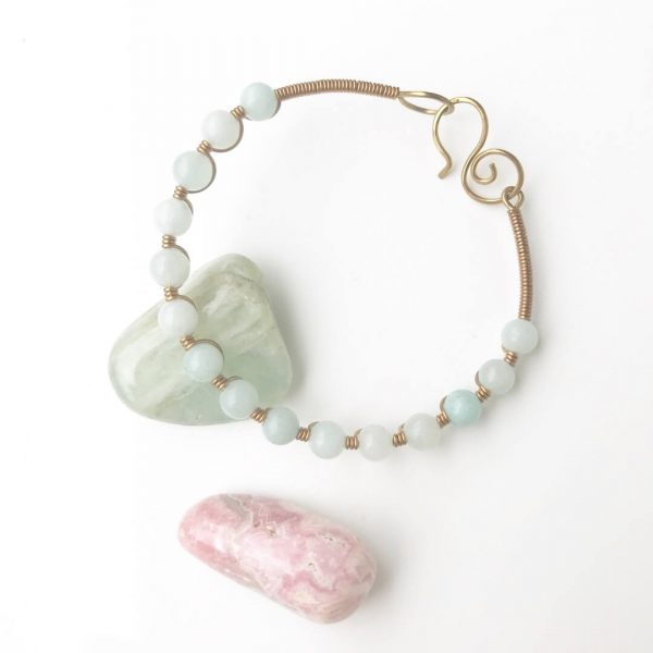 Scared Stone Bangle wire wrapped in Amazonite