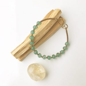 Sacred Stone Bangle wire wrapped in Chrysoprase