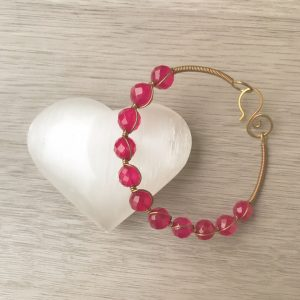 Sacred Stone Bangle wire wrapped in Fuchsia Jade