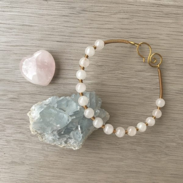 Sacred Stone Bangle wire wrapped in Rose Quartz