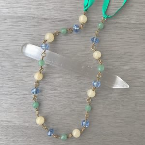 The Airy Fairy Yellow Calcite, Chrysoprase and blue glass Goddess headpiece