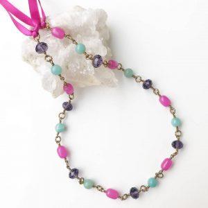 The Berry Good Amazonite, Jade and purple glass Goddess Headpiece