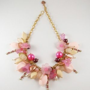 The Key To My Heart Pink and Gold Charm Choker