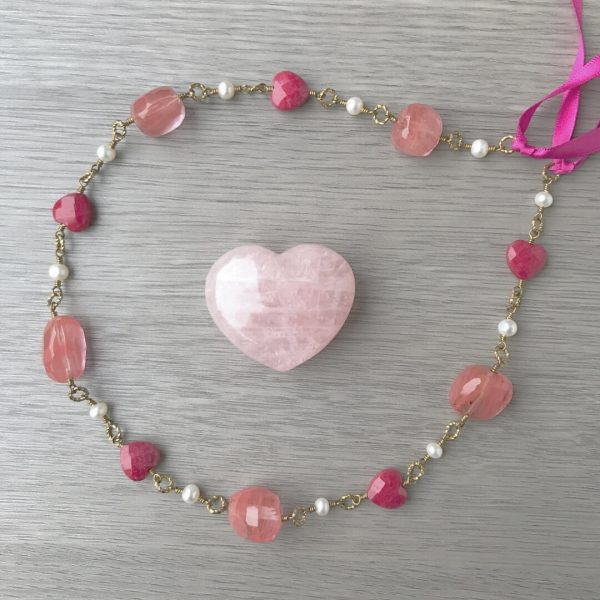 The Lady of Love Pearl and Red Jade Heart Goddess headpiece