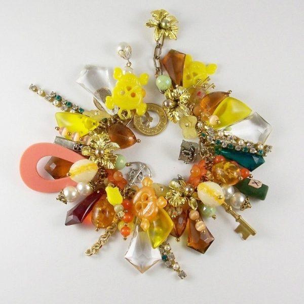 Treasure Island Pirates Paradise Yellow and Gold Charm Bracelet