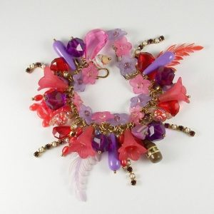 Treasure Island Tropical Treasures Red and Purple Charm Bracelet
