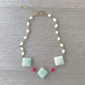 The Jewels of Isis Choker created with diamond shaped Amazonite, Pearls and Fuchsia Jade