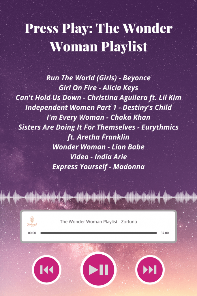 Press Play: The Wonder Woman Playlist. Songs include: 'Girl On Fire' by Alicia Keys, 'Can't Hold Us Down' by Christina Aguilera ft. Lil Kim, 'Independent Women Part 1' by Destiny's Child, 'I'm Every Woman' by Chaka Khan, 'Sisters Are Doing It For Themselves' by Eurythmics ft. Aretha Franklin, 'Wonder Woman' by Lion Babe, 'Video' by India Arie and 'Express Yourself' by Madonna